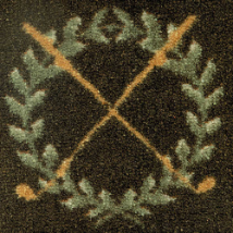 Crossed Clubs on Half Round Rug