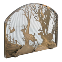 Deer On The Loose Arched Fireplace Screen