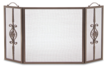 DISCONTINUED     3 Panel Forged Sun Fireplace Screen