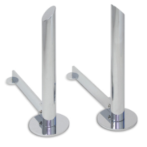Modern Tower Polished Nickel Fireplace Andirons