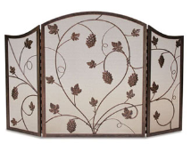 DISCONTINUED       3 Panel Grapevine Fireplace Screen