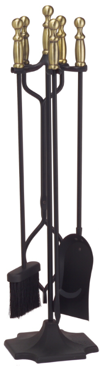 "5 Piece 31"" High Ball Handled Fireplace Tools"