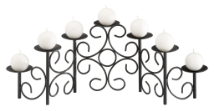 Eight Candle Black Scrolled Fireplace Candelabra