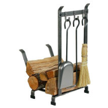 Country Home Log Rack With Fireplace Tools