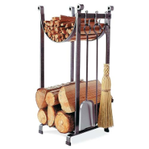Sling Log Rack with Fireplace Tools