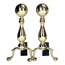 Solid Brass Medium Ball Andirons