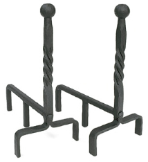 Ball and Twisted Rope Fireplace Andirons