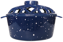 PORCELAIN COATED LATTICE TOP STEAMER- BLUE W/ WHITE SPECKLES