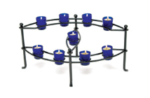 Nine Candle Cobalt Votive Hearth Candelabra