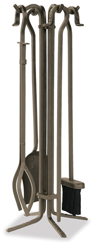 5 Piece Bronze Fireplace Tools with Crook Handles