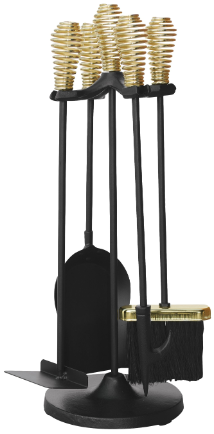5 Piece Black and Brass Finish Stove Set with Spring Handles