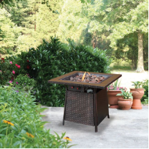 LP GAS OUTDOOR FIREBOWL WITH TILE MANTEL