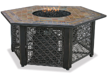 Uniflame LP Gas Outdoor Fireplace w/Slate Mantel