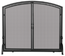 Single Panel Black Wrought Iron Screen with Doors (medium and large)