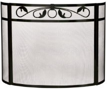 3 Fold Heavy Black Wrought Iron Bow Fireplace Screen with Top Scroll Design
