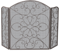 3 Fold Bronze Wrought Iron Fireplace Screen With Scroll Design