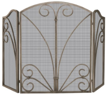 3 Fold Venetian Bronze Fireplace Screen with Decorative Scrollwork