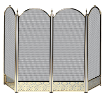 4 Fold Triple Plated Brass Fireplace Screen with Decorative Filigree