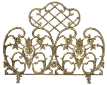 Single Panel Antique Gold Cast Aluminum Fireplace Screen