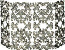 4 Fold Antique Gold Cast Aluminum Fireplace Screen