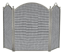 3 Fold Satin Pewter Fireplace Screen