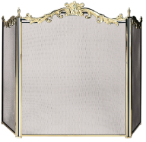3 Panel Cast Solid Brass Fireplace Screen