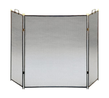 Black Straight Lined Three-Fold Fireplace Screen