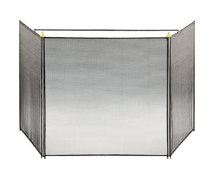 Black Three-Fold Child-Guard Fireplace Screen