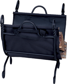 Ring Swirl Black Log Rack with Canvas Carrier
