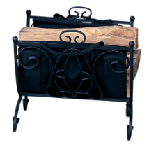 Heavy Weight Black Wrought Iron Log Holder with Canvas Carrier