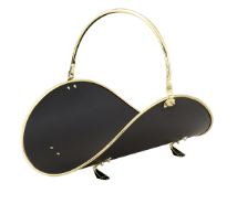 "21"" POLISHED BRASS /BLACK WOODBASKET W/POLISHED BRASS  TRIM"