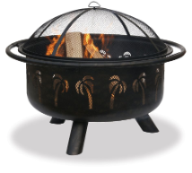 Uniflame Oil Rubbed Bronze Outdoor Fireplace w/Palm Tree Design