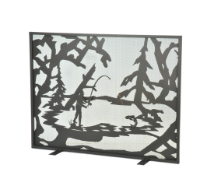 Fly Fishing Flat Fireplace Screen