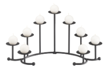 DISCONTINUED   Seven Candle Black Curved Fireplace Candelabra