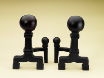 Heavy Black Balled Fireplace Andirons