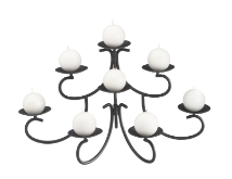 Eight Candle Black Fireplace Candelabra