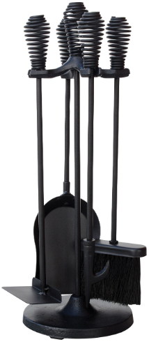 5 Piece Black Finish Stove Set with Spring Handles