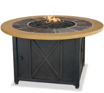 Uniflame LP Gas Outdoor Fireplace w/Slate and Faux Wood Mantel