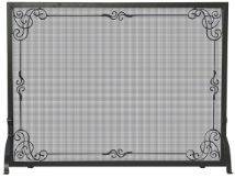Single Panel Black Wrought Iron Fireplace Screen with Decorative Scroll