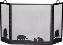 Deluxe 3-Panel Black Wrought Iron Fireplace Screen with Hunting Bear Scene
