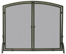 Single Panel Bronze Fireplace Screen with doors