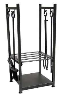 Black Wrought Iron Log Rack with Fireplace Tools
