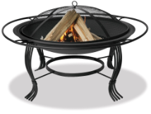 Uniflame Black Outdoor Firepit with Outer Ring
