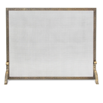 Single Panel Bay Branch Embossed Flat Fireplace Screen