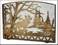 Moose Creek Arched Flat fireplace Screen