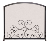 Single Panel Applique Scroll Fireplace Screen (SKU: 1827)