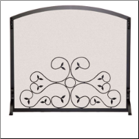 Single Panel Applique Scroll Fireplace Screen