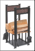 Basket Weave Log Holder With Fireplace Tools (SKU: 18570)