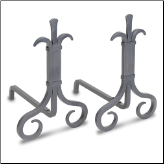 Grand Forge Natural Iron Fireplace Andirons (SKU: 18672)