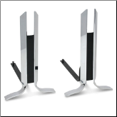 Modern Gosham Polished Nickel Spires Fireplace Andirons (SKU: 18673)